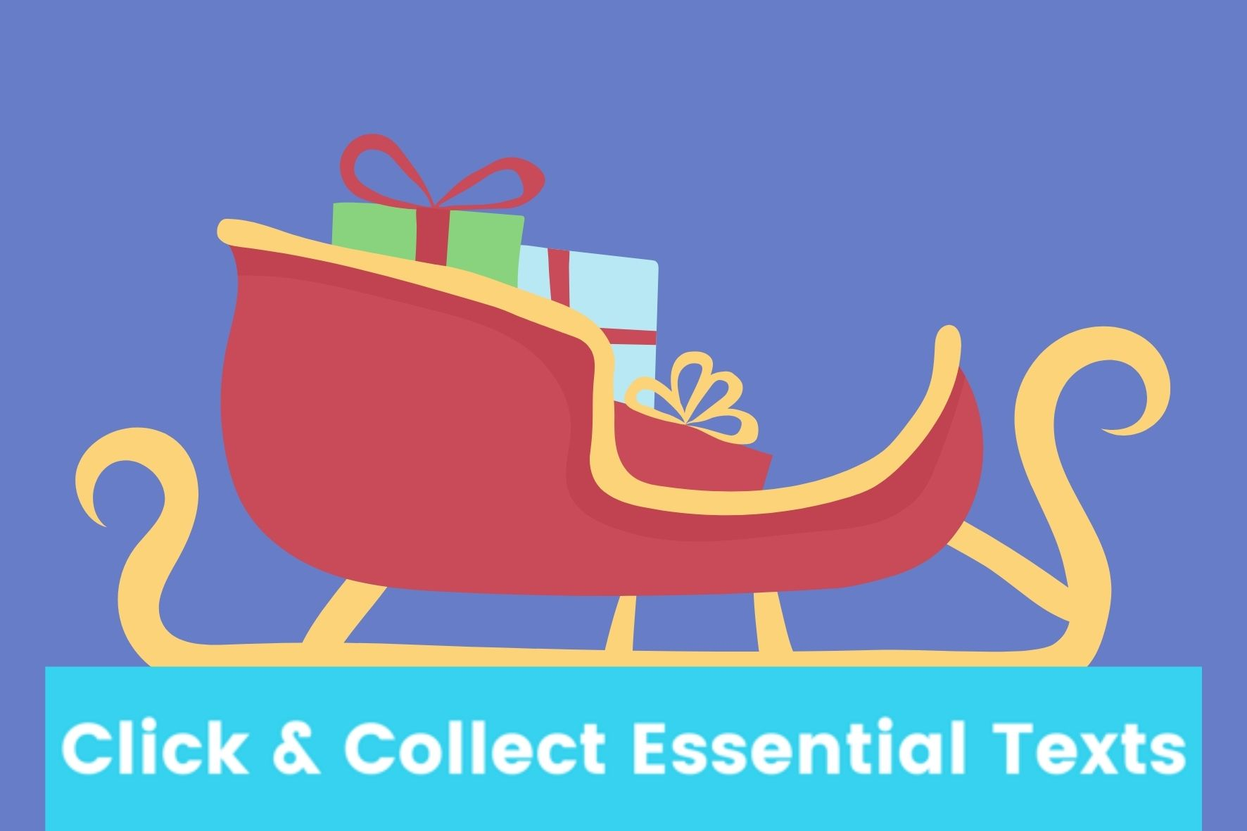 Blue and Red Santa Sleigh with Gifts Landscape Rectangle Laptop Sticker (1)