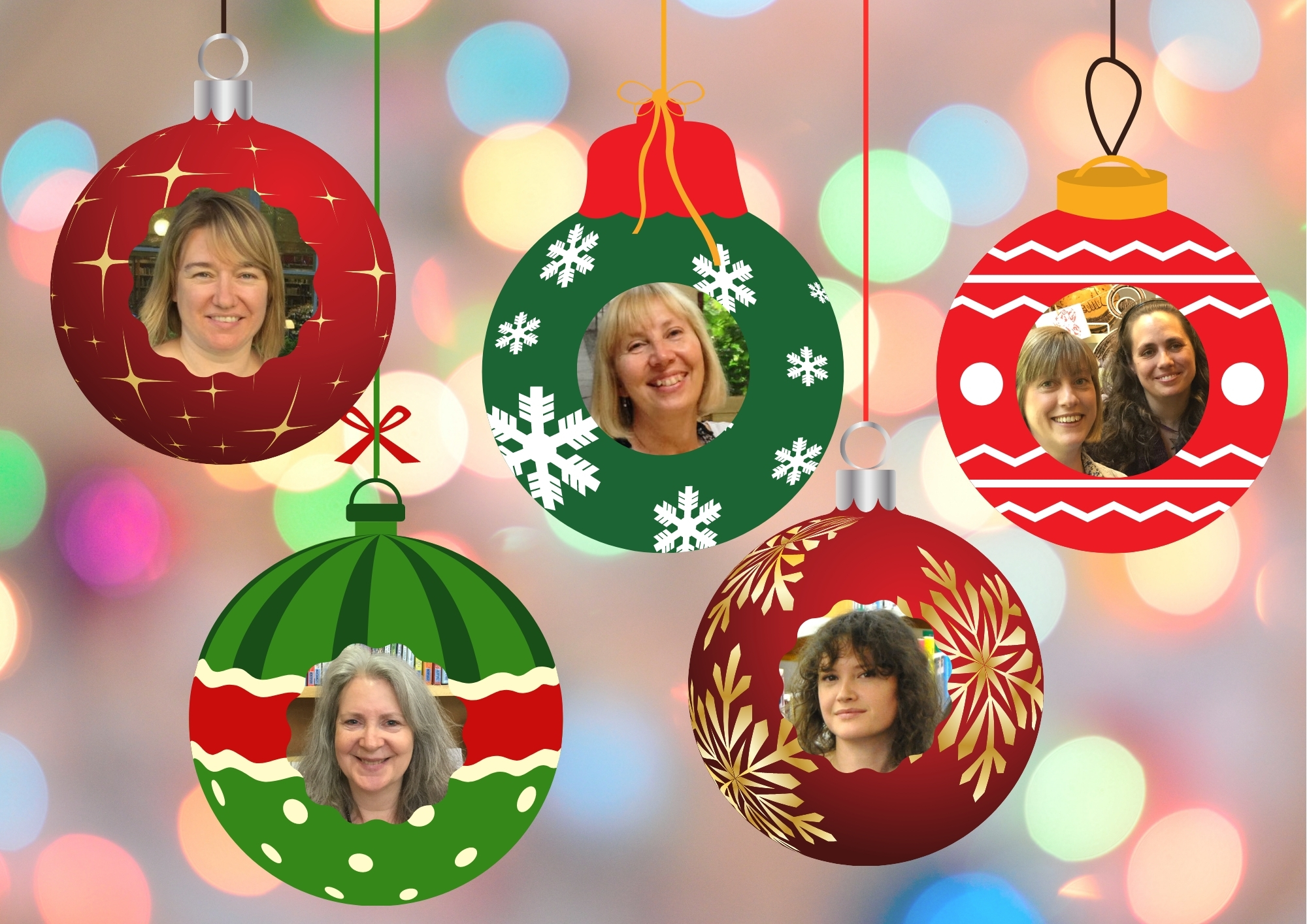 Library Team Christmas baubles